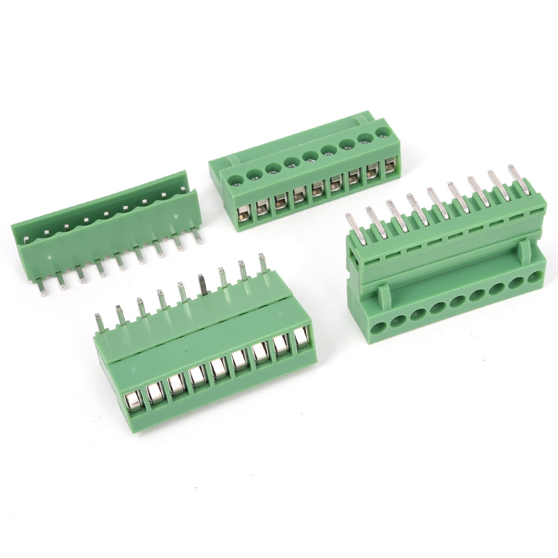 3Pcs Green AC 300V 10A 9P Pins PCB Screw Terminal Block Connector 3.96mm Pitch