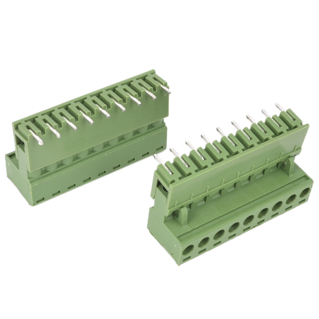 2 Pcs AC 300V 10A 9P Pins PCB Screw Terminal Block Connector 5.08mm Pitch Army Green
