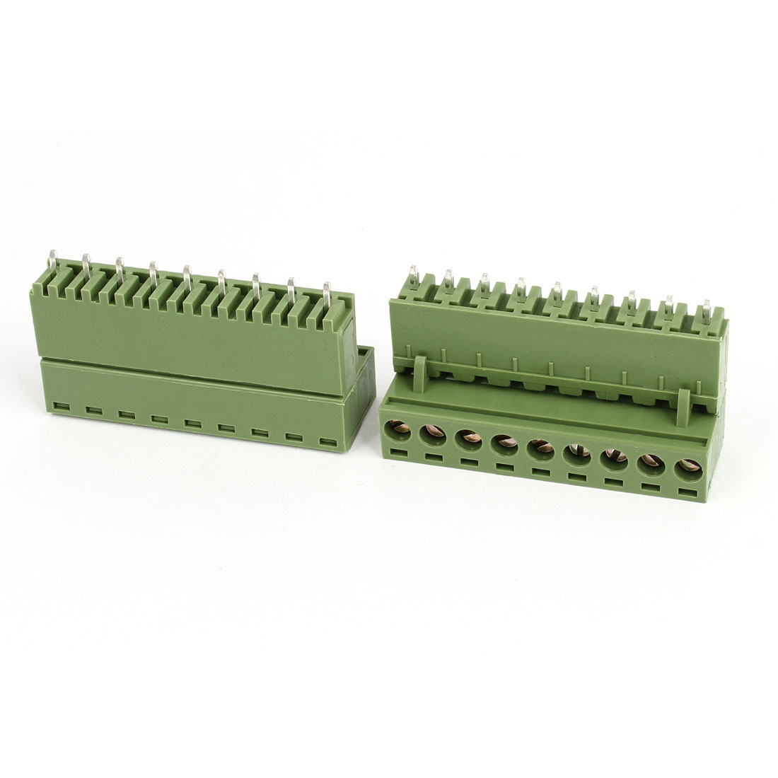 2Pcs 300V 10A 9P Pins PCB Screw Terminal Block Connector 5.08mm Pitch Army Green