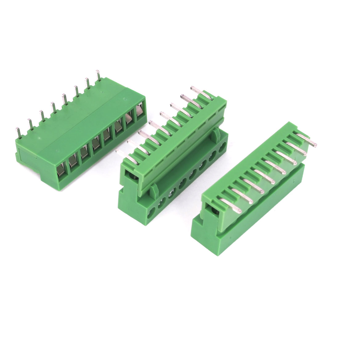3 Pcs AC 300V 10A 8P Pins PCB Screw Terminal Block Connector 5.08mm Pitch Green