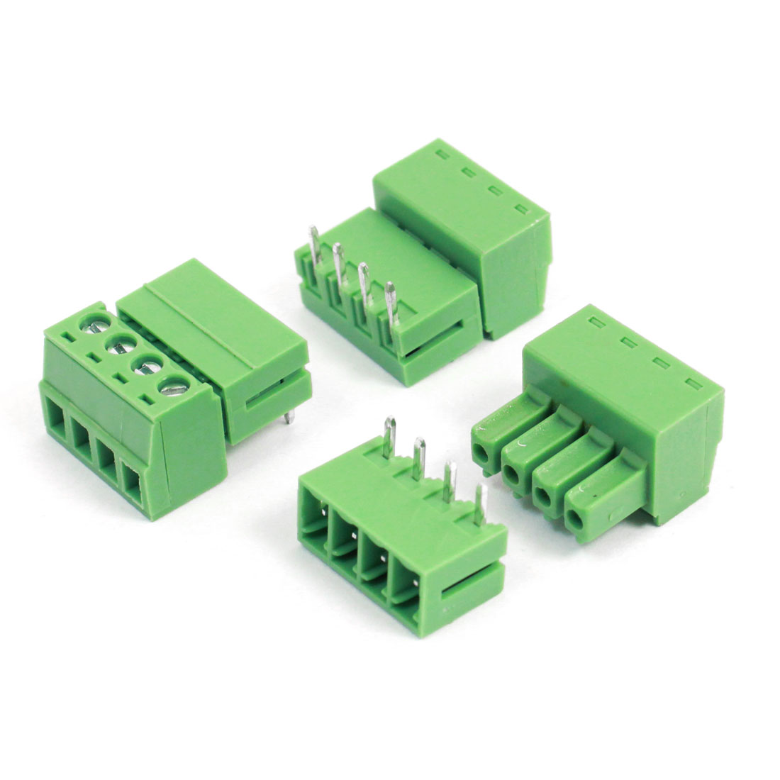 3pcs 3.81mm Pitch 4 Pins AC 300V 8A Staight Terminal Blocks Connectors