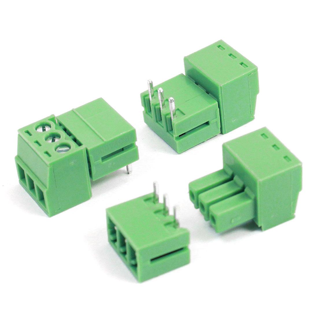 3pcs 3.5mm Pitch 3 Pins AC300V 8A Terminal Blocks Connectors Green