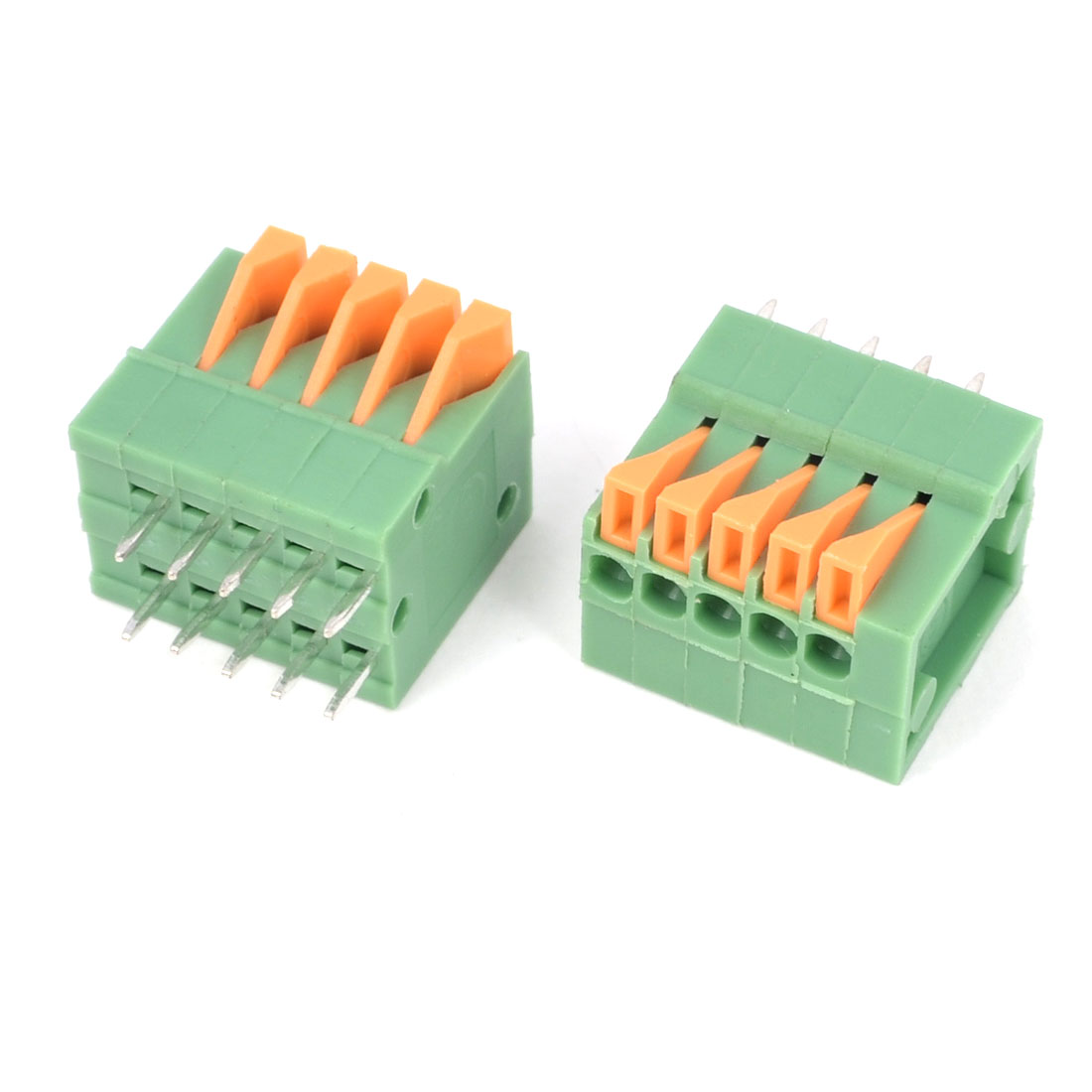 2PCS 150V 2A 2.54mm Pitch 5P Pins Double Dual Row PCB Screwless Terminal Block Connector Green