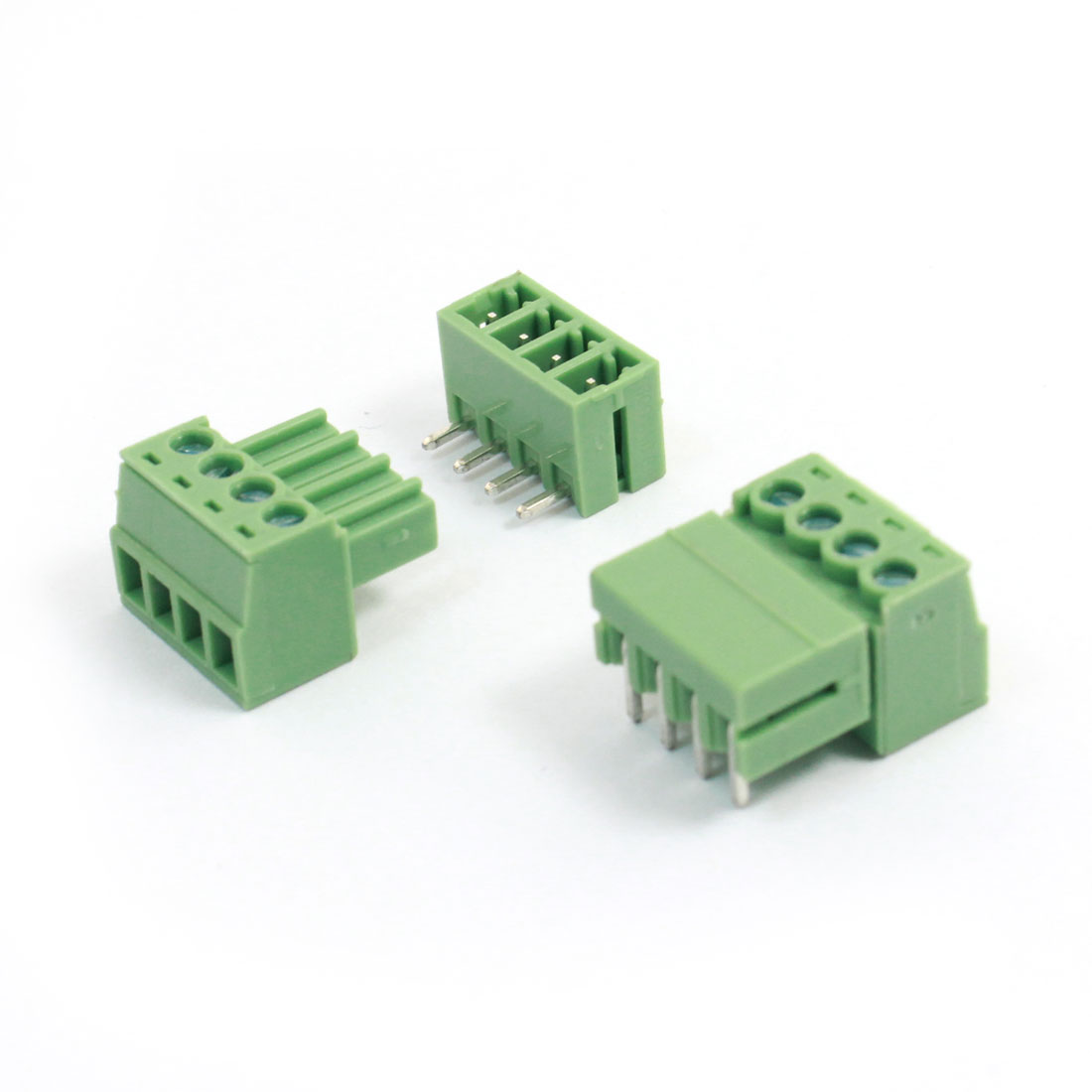 2pcs 3.5mm Pitch 4 Pins AC 300V 8A Terminal Blocks Connectors Green