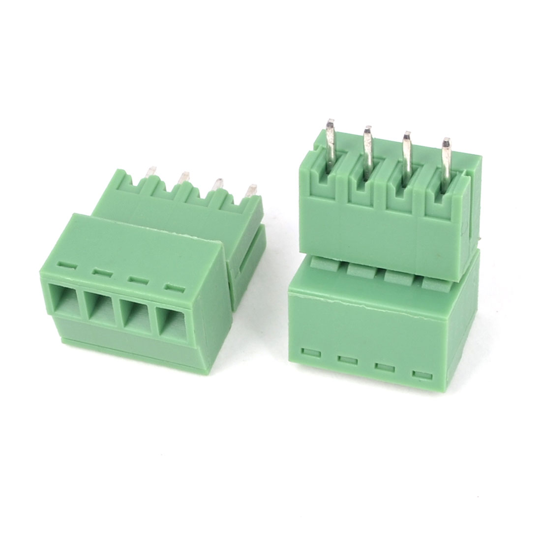 2Pcs 300V 8A 4P Pins 3.5mm Pitch PCB Screw Terminal Block Connector Green