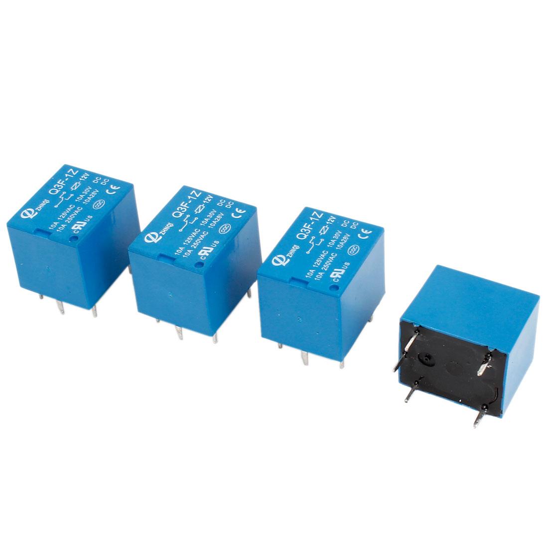 4PCS Q3F-1Z DC 12V 10A Coil Volt SPDT PCB General Purpose Power Relay