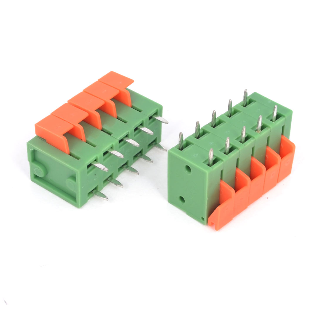 2PCS 300V 10A 5.08mm Pitch 5P Double Row PCB Screwless Terminal Block Connector Green