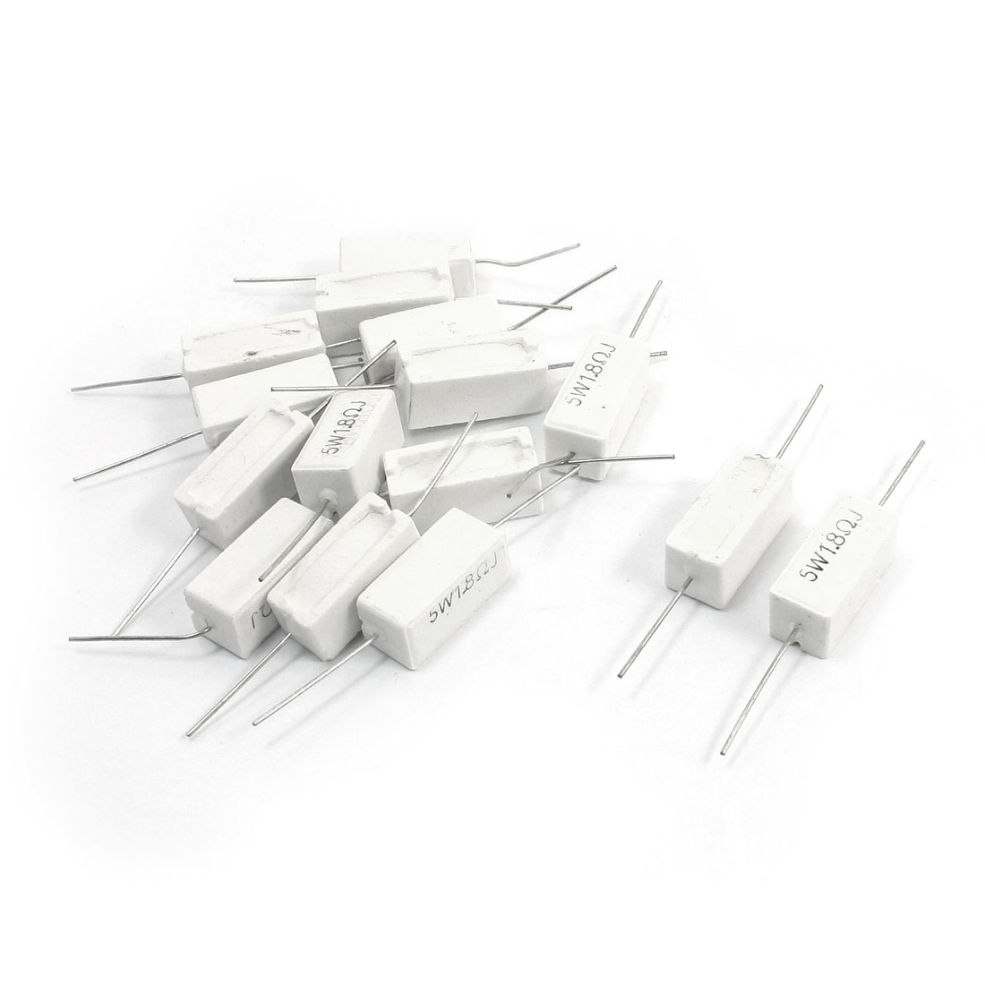 1.8 Ohm 5W Axial Lead Type Through Hole Mounting White Rectangle Case Ceramic Cement Power Resistors 15Pcs