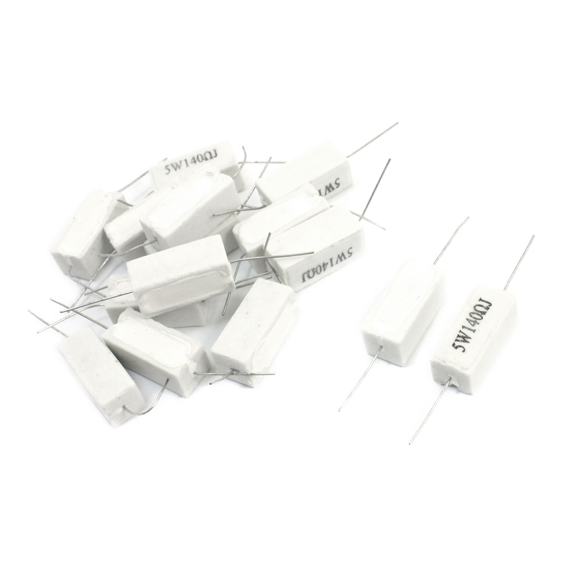 5Watt 140 Ohm Axial Leading Type Through Hole Mounting Rectangle Case Ceramic Cement Power Resistor 15Pcs