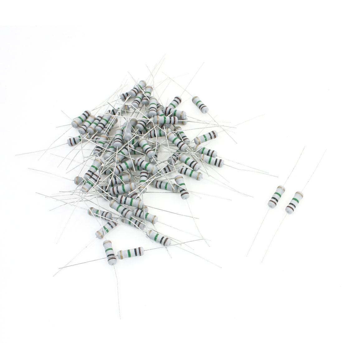 60Pcs 1M Ohm 1W Power 5% Tolerance 4-Color Ring Axial Lead Type Through Hole Mounting Carbon Film Fixed Resistors