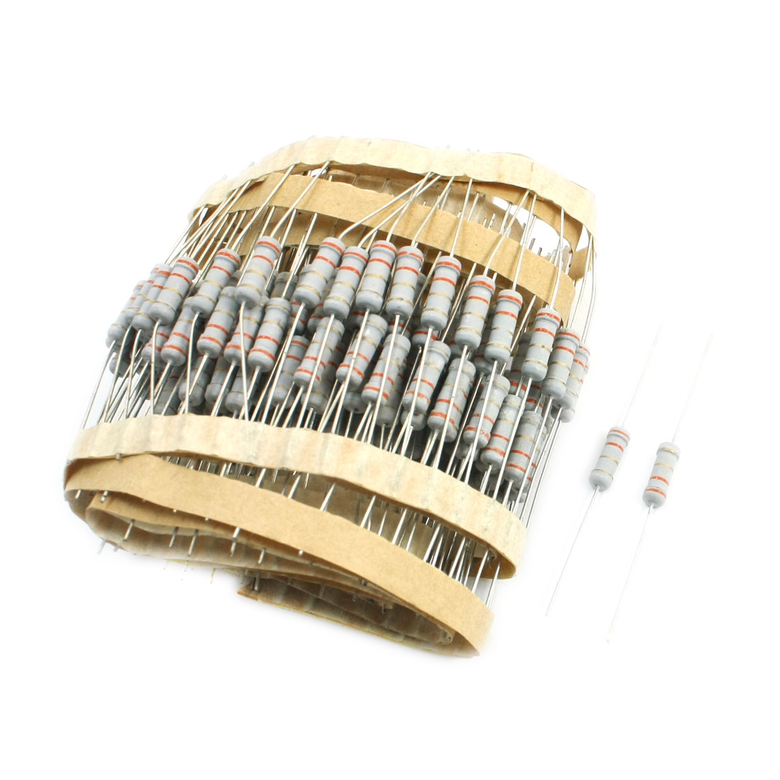 200 Pcs 3.3 Ohm 5% Tolerance 1Watt Power Axial Leading Type Through Hole Mounting 4 Color Ring Carbon Film Fixed Resistors