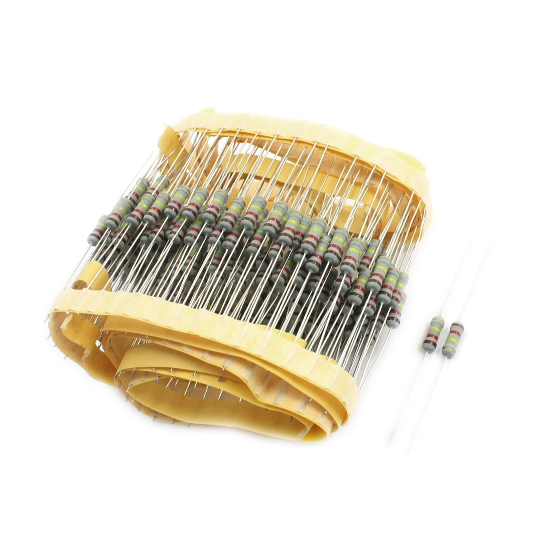 200Pcs 1/2W Power 120K Ohm 5% Tolerance Axial Lead Type Through Hole Mounting 4 Color Ring Carbon Film Fixed Resistors