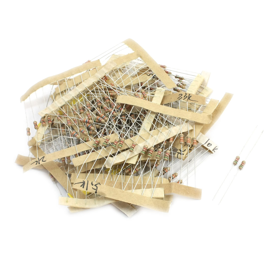 250Pcs 1K-33K Ohm Resistance 0.25W Power 5% Tolerance Axial Lead Type Through Hole Mounting Carbon Film Resistor