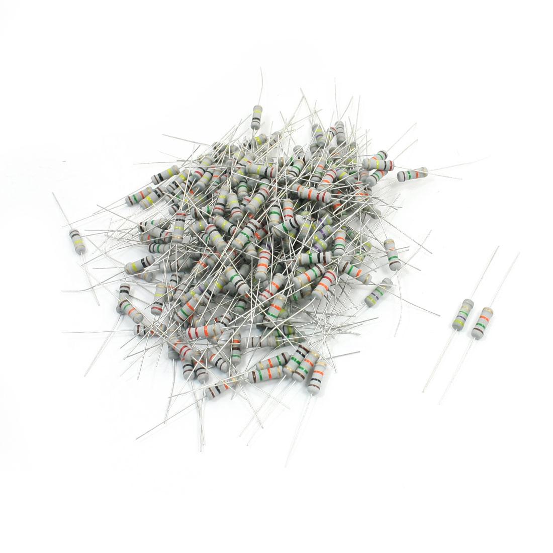 5% Tolerance Axial Leading Type Through Hole 4 Color Ring Carbon Film Fixed Resistors Assortment Kit Set 200Pcs