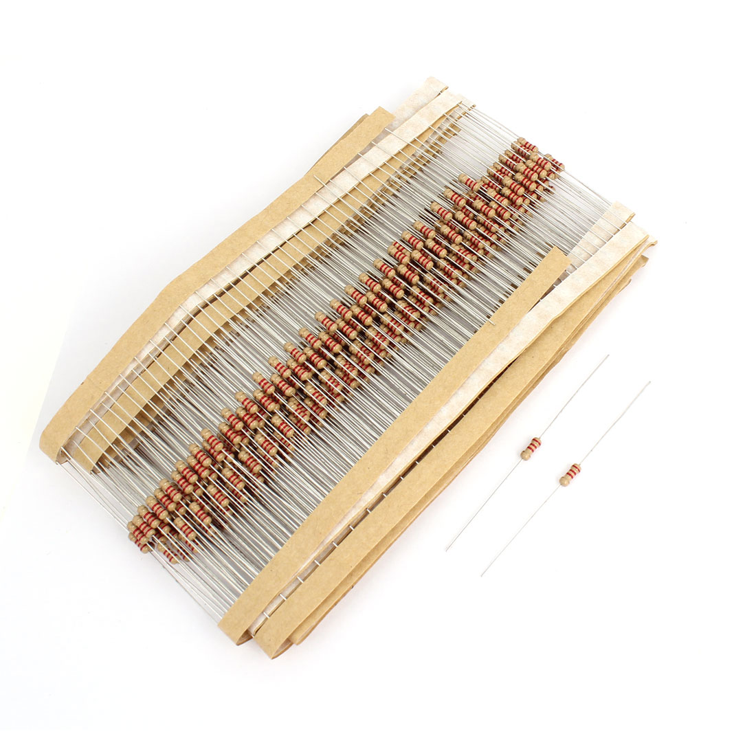 400Pcs 1/4W 0.25W 5% Tolerance 2.2K Ohm Through Hole Axial Lead Carbon Film Resistor