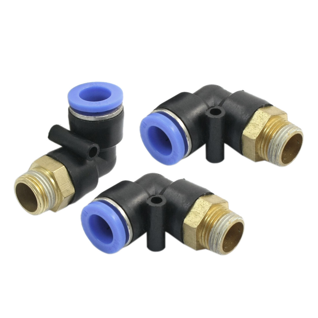3Pcs 3/8PT Male Thread 12mm to 12mm Two Ways Elbow Connector Pneumatic Quick Fitting Coupler