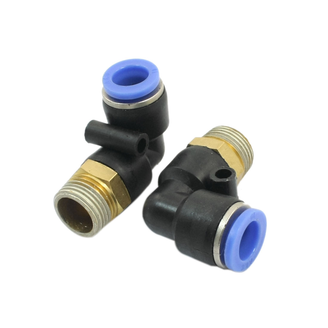 2pcs 3/8PT Male Thread 12mm to 10mm Two Way L-Shaped Elbow Connector Pneumatic Quick Fitting Coupler