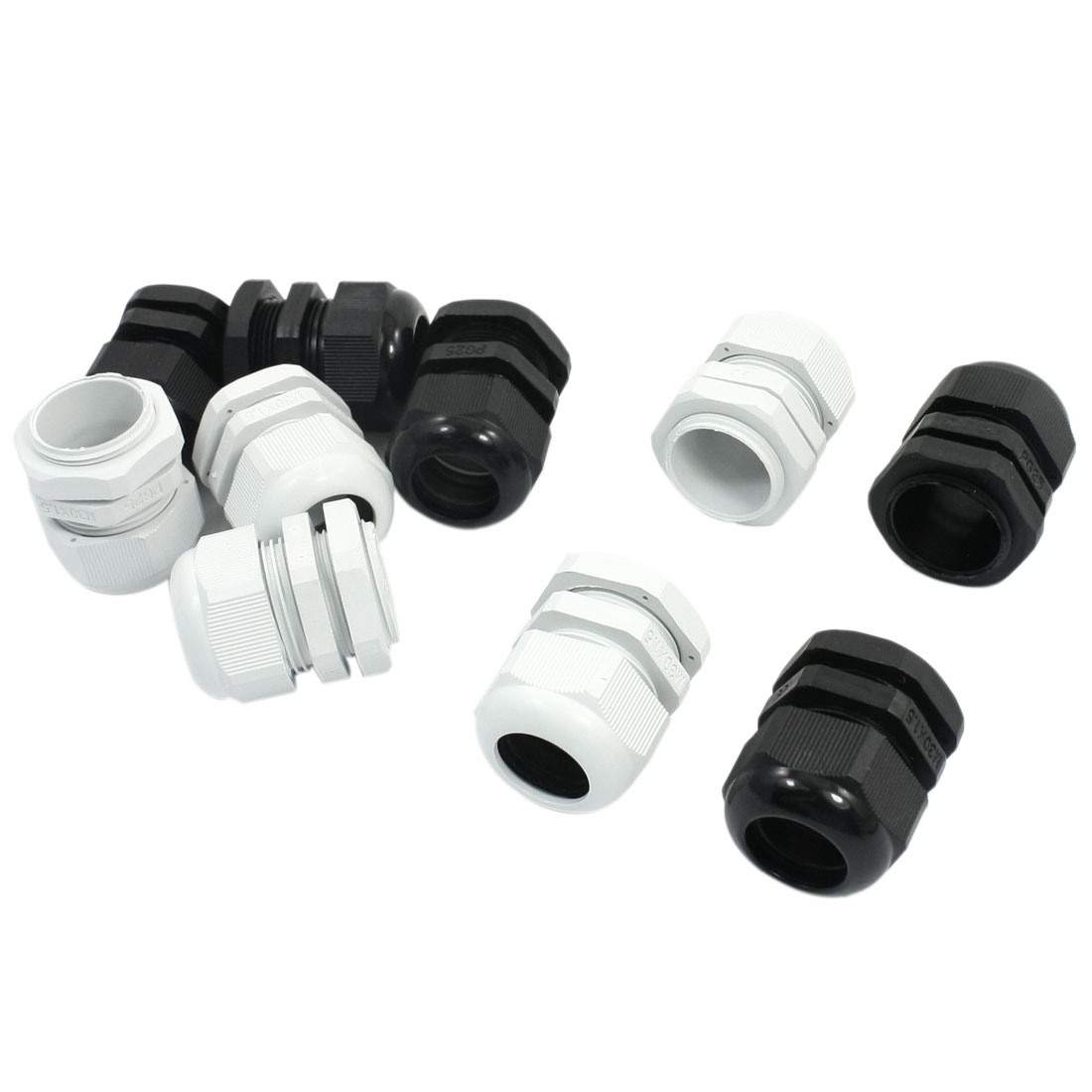 10 PCS PG25 16-21mm Dia Wire Black White Waterproof Connector Fastener Locknut Stuffing Cable Gland