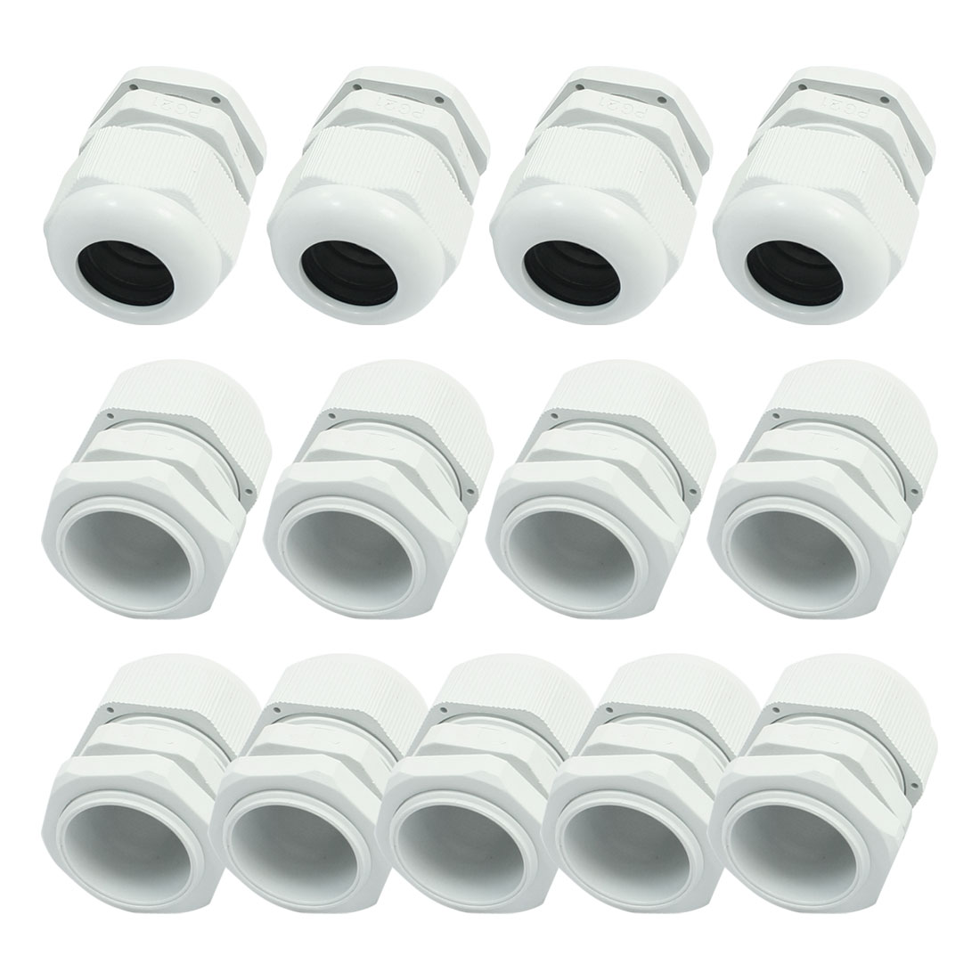 13 PCS PG21 White Plastic Waterproof Connector Locknut Stuffing Cable Gland for 9-16mm Wire