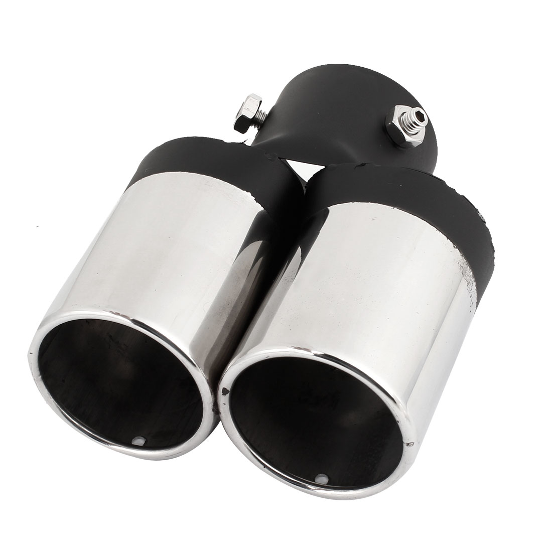 Car 55mm Dia Dual Outlet Rolled Exhaust Muffler Tip Pipe Silver Tone Black