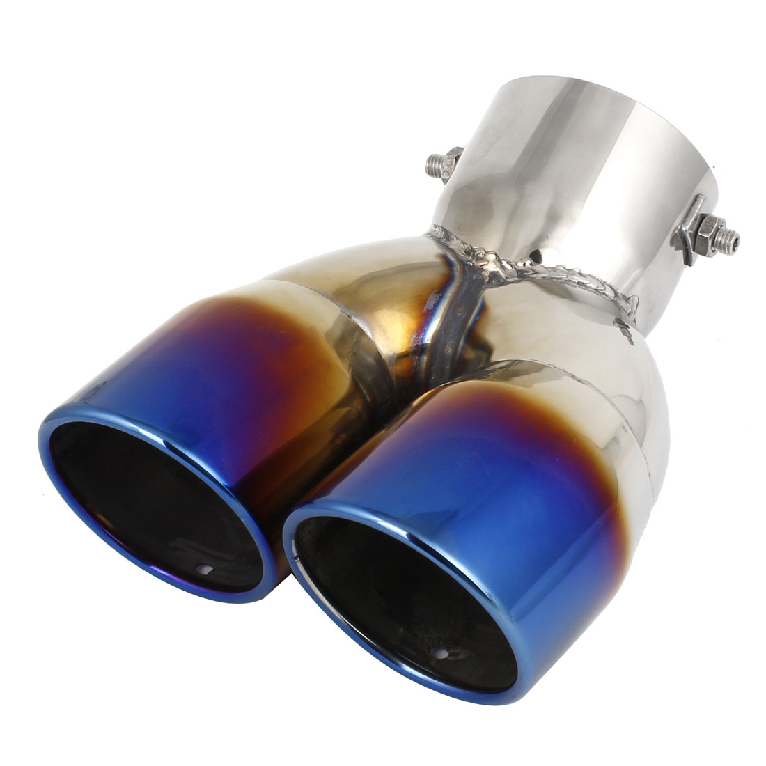 Vehicle Car 73mm Dia Dual Slanted Rolled Exhaust Muffler Tip Pipe Burned Blue