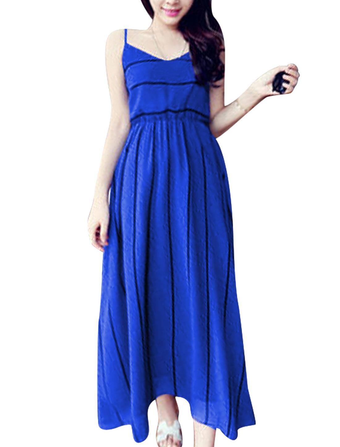 Lady Stylish Spaghetti Straps V Neck Stripes Dress Royal Blue XS