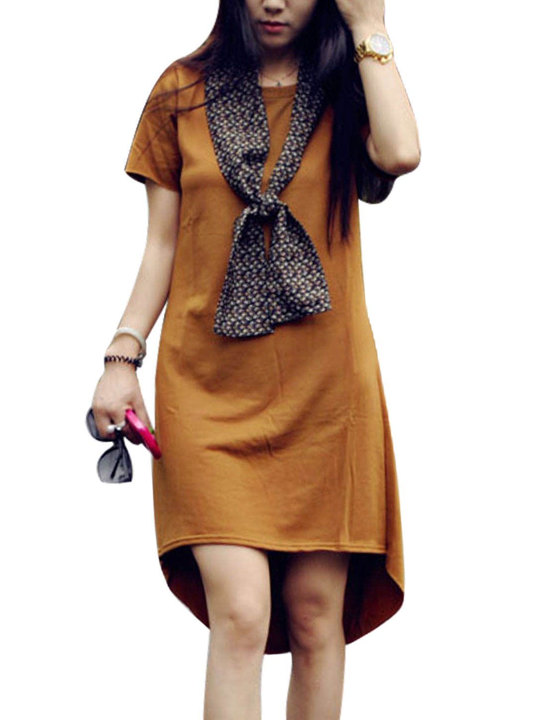 Lady Round Neck High Low Hem Dress w Floral Prints Scarf Dark Bronze XS