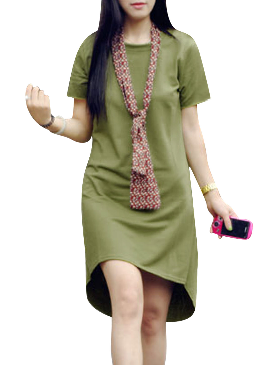 Lady Summer Short Sleeve High Low Hem Dress w Floral Prints Scarf Army Green XS