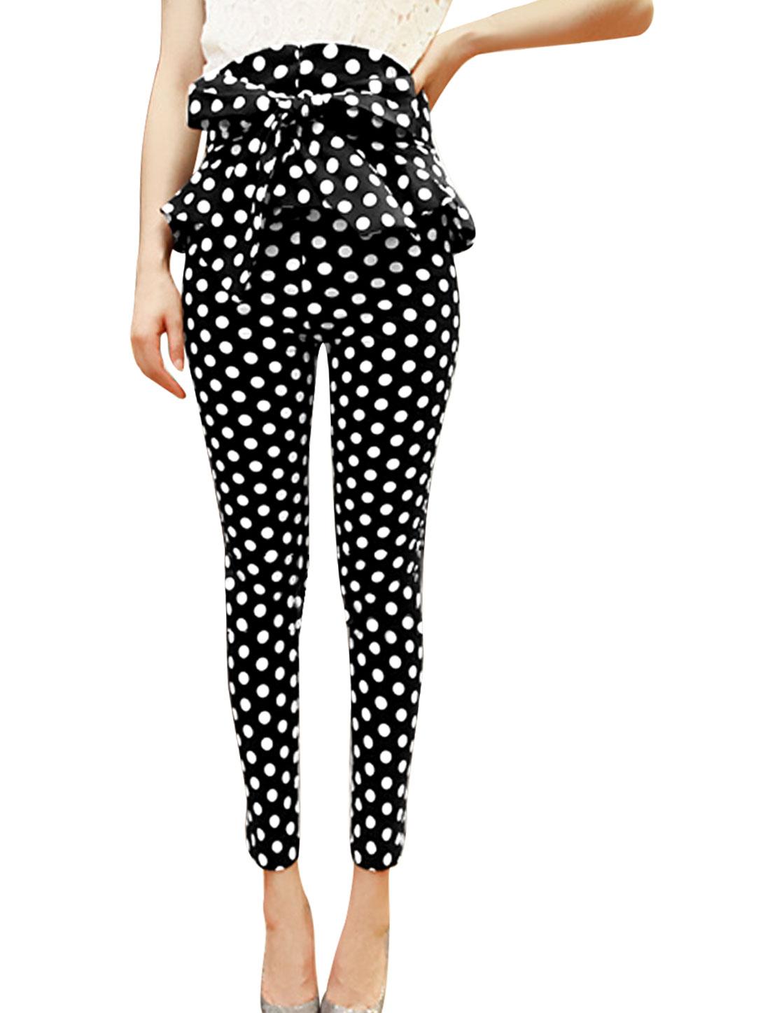 Lady Hidden Zipper Back Dots Pattern Self-Tie Waist Strap Pants Black S