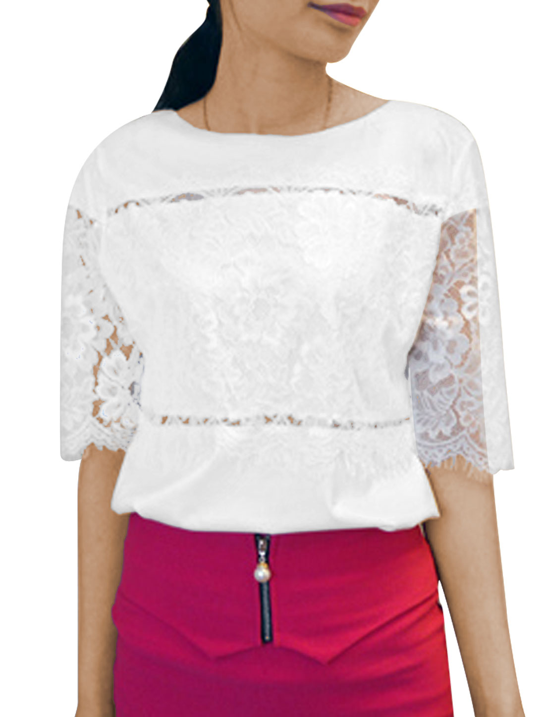 Women Round Neck Short Sleeve Lace Panel Casual Top White XS
