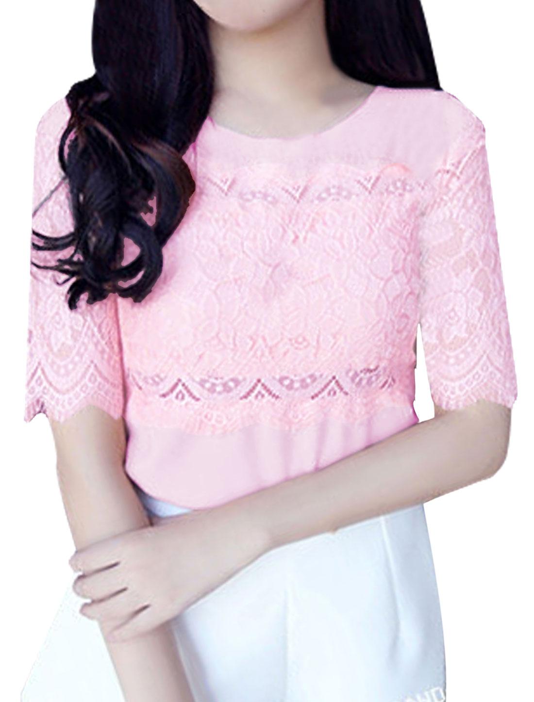 Women Round Neck Short Sleeve Lace Splicing Blouse Light Pink XS