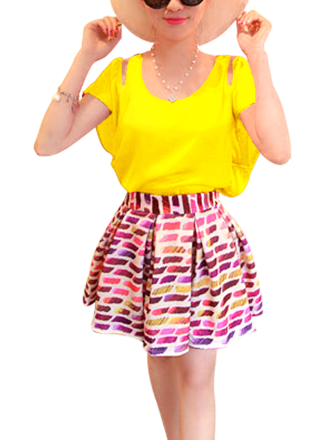 Women Layered Tops Design Round Neck Leisure Top Blouse Yellow S