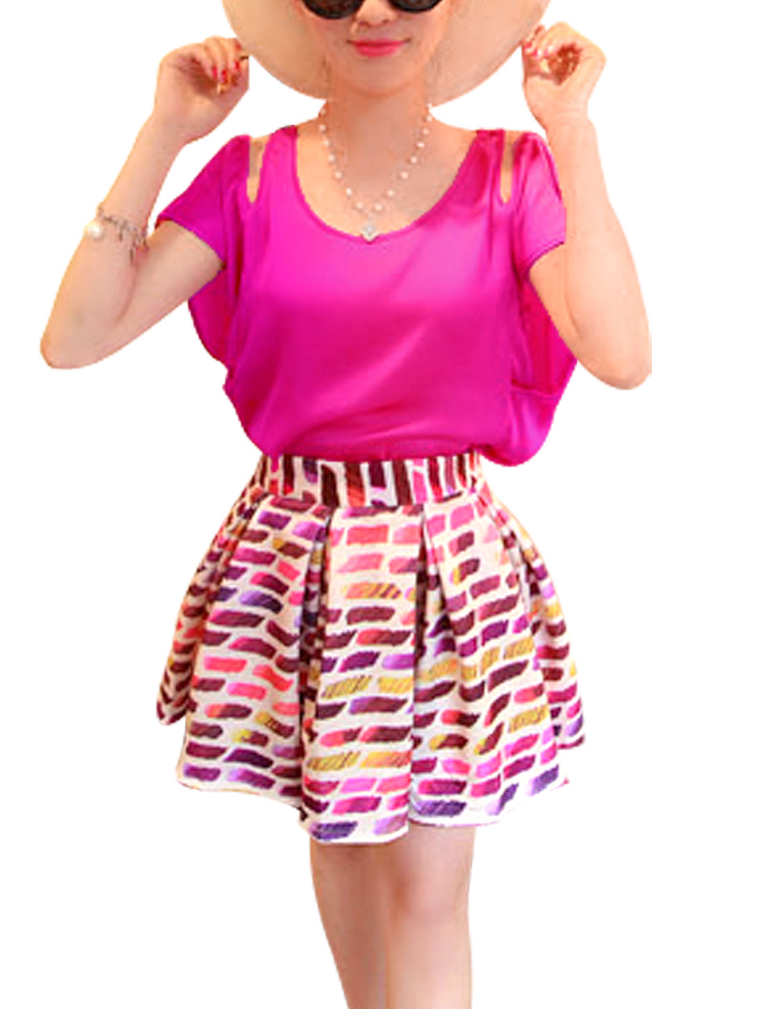 Lady Cut Out Shoulder Layered Tops Chic Blouse Fuchsia S