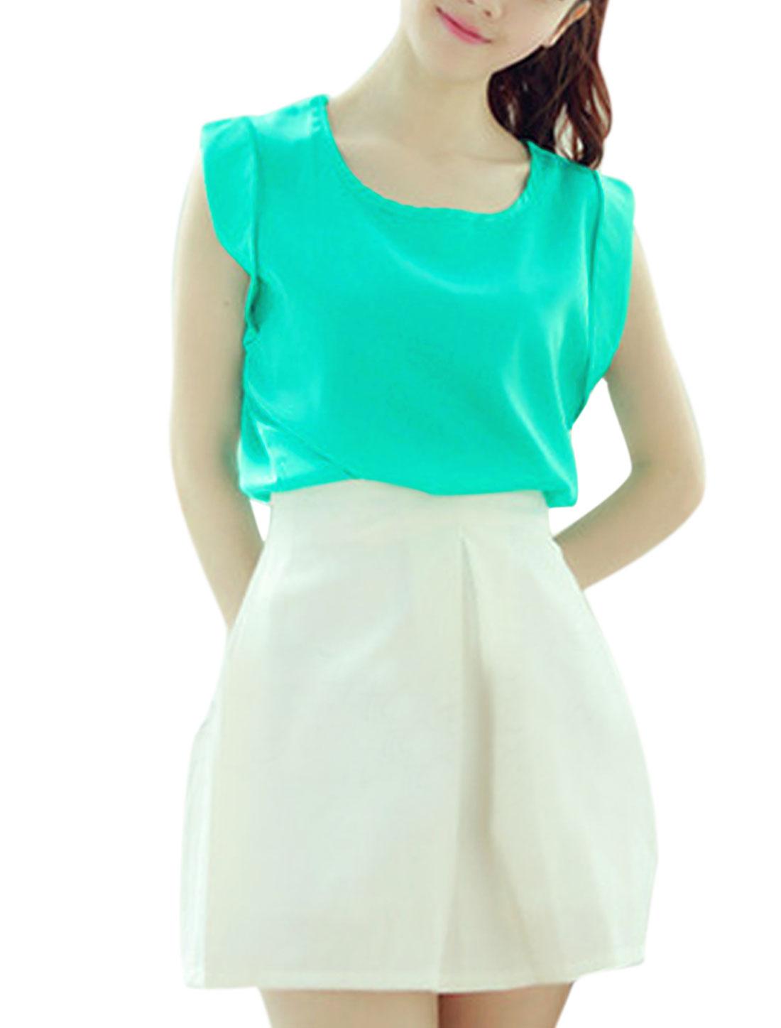 Ladies Elegant Summer Round Neck Pure Design Satin Blouse Aqua XS