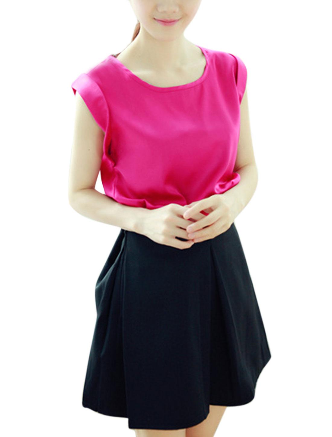 Women Elegant Soft Round Neck Slipover Design Satin Blouse Fuchsia XS