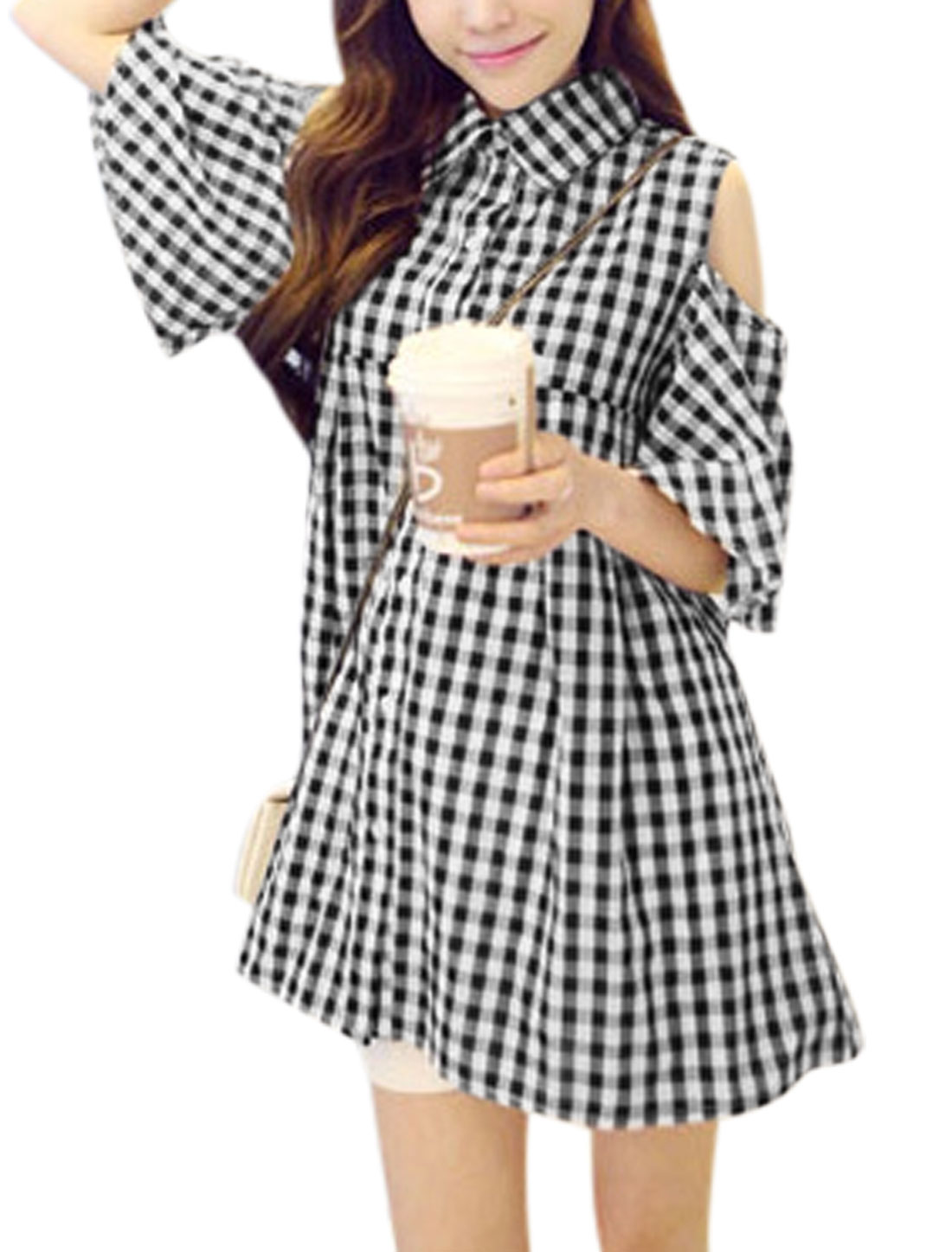 Women Point Collar Half Bell Sleeve Plaids Sweet Tunic Blouse Black White S