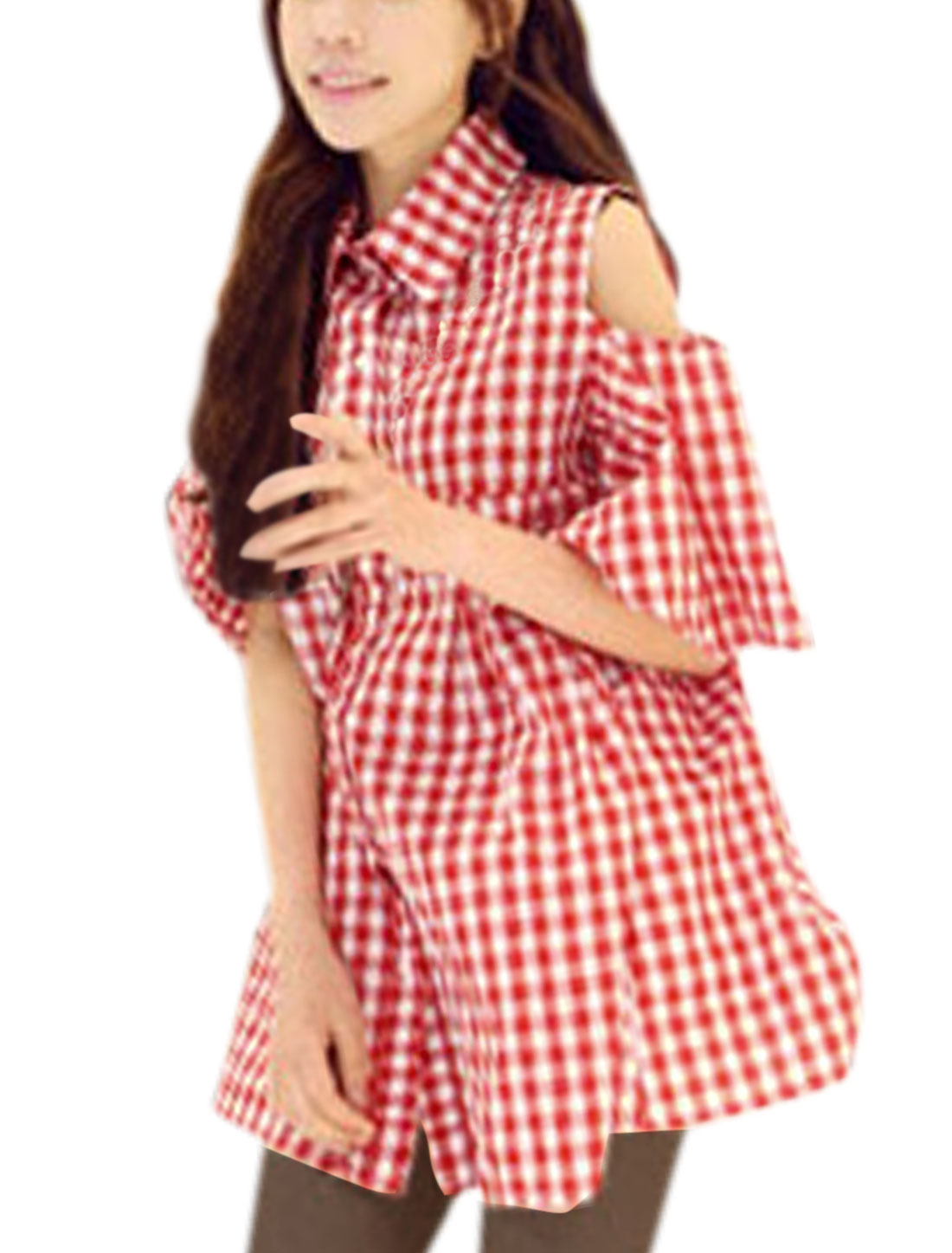 Women Cut Out Shoulder Plaids Pattern Sweet Tunic Blouse Red White S