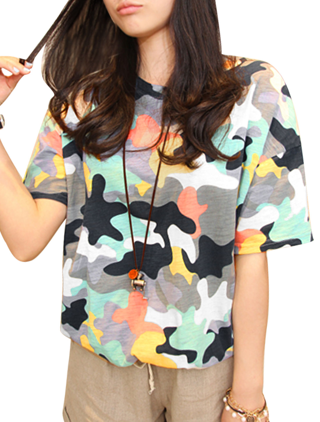 Women Round Neck Short Sleeve Camouflage Prints T-Shirt Multicolor XS