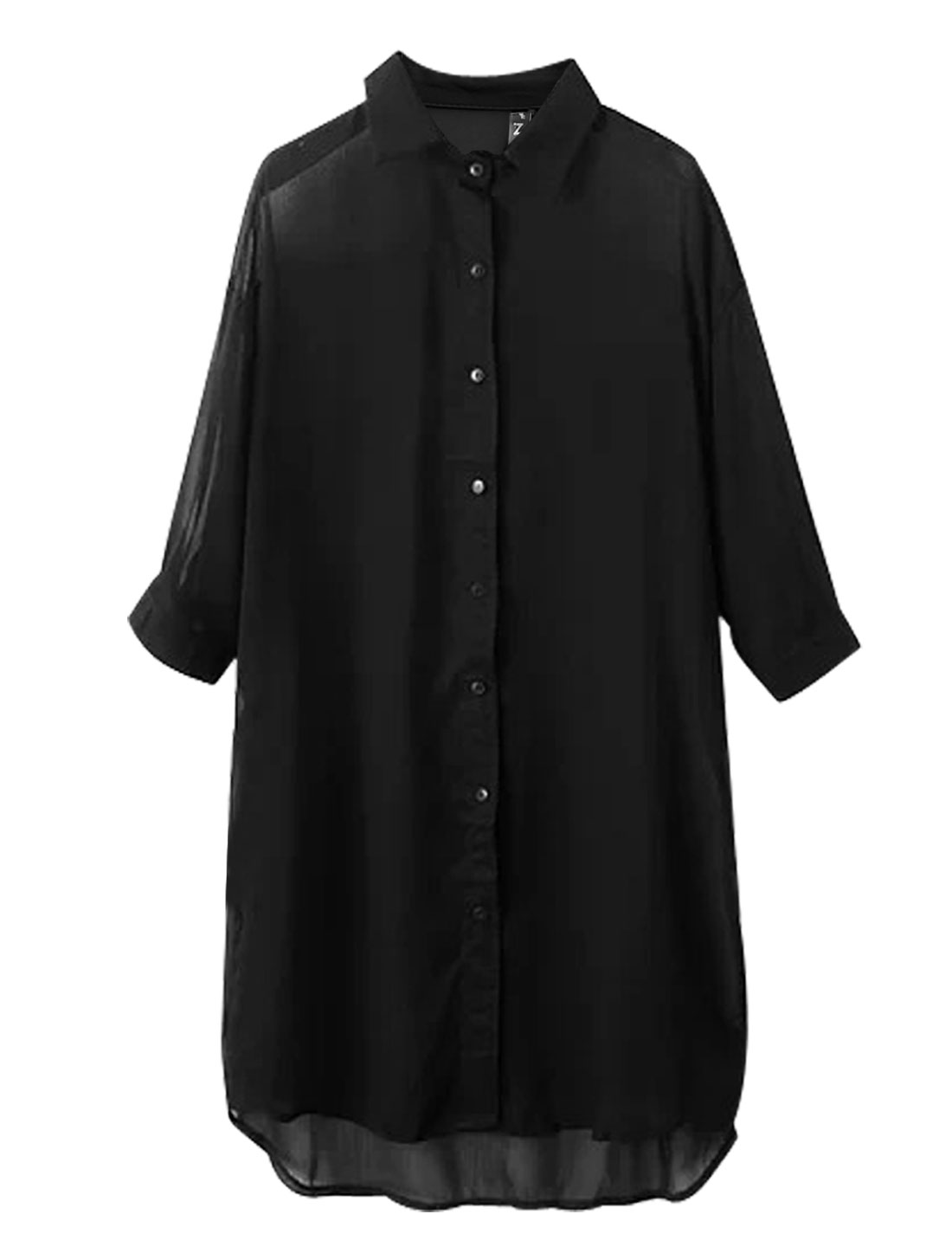 Lady Single Breasted 3/4 Sleeve Semi Sheer Long Chiffon Coat Black XS