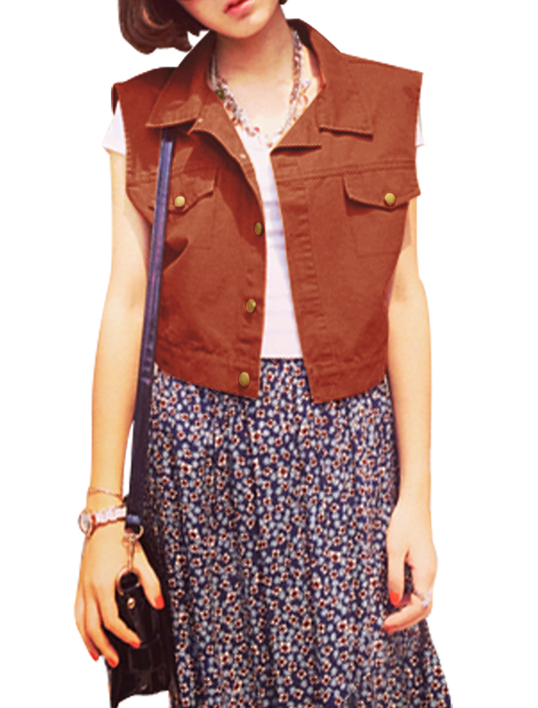 Lady Point Collar Single Breasted Sleeveless Basic Jacket Rust M