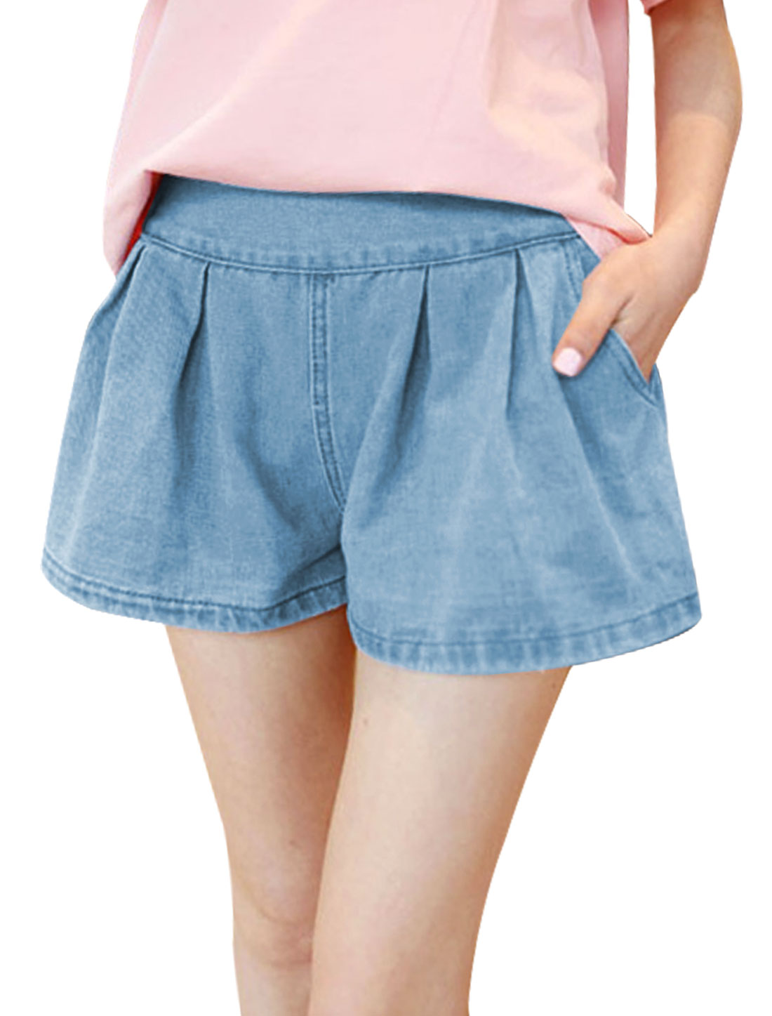 Women Stretchy Waist Mid Rise Casual Denim Shorts Light Blue XS