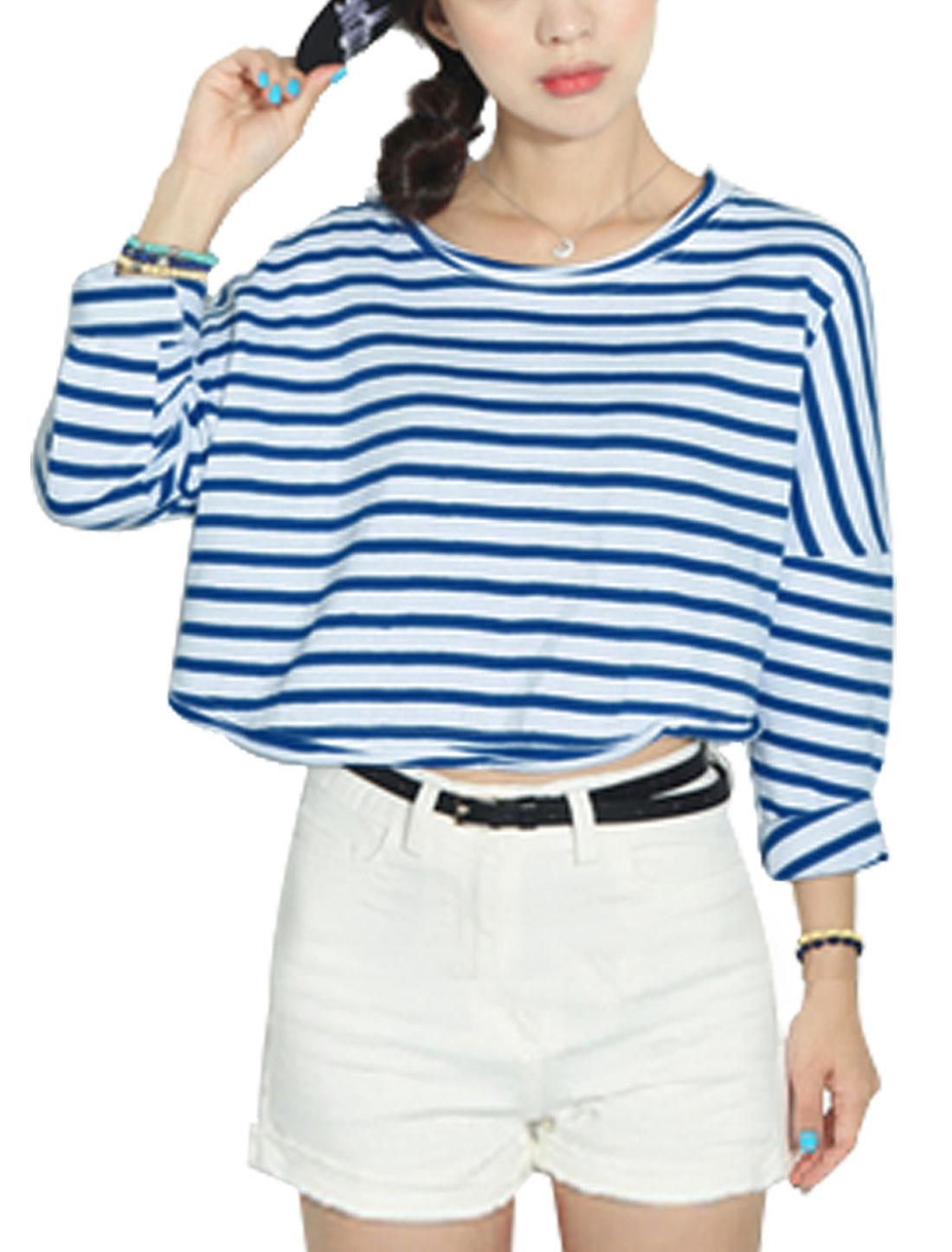 Lady Horizontal Stripes Pattern Slipover Design Bolero Top Blue White XS