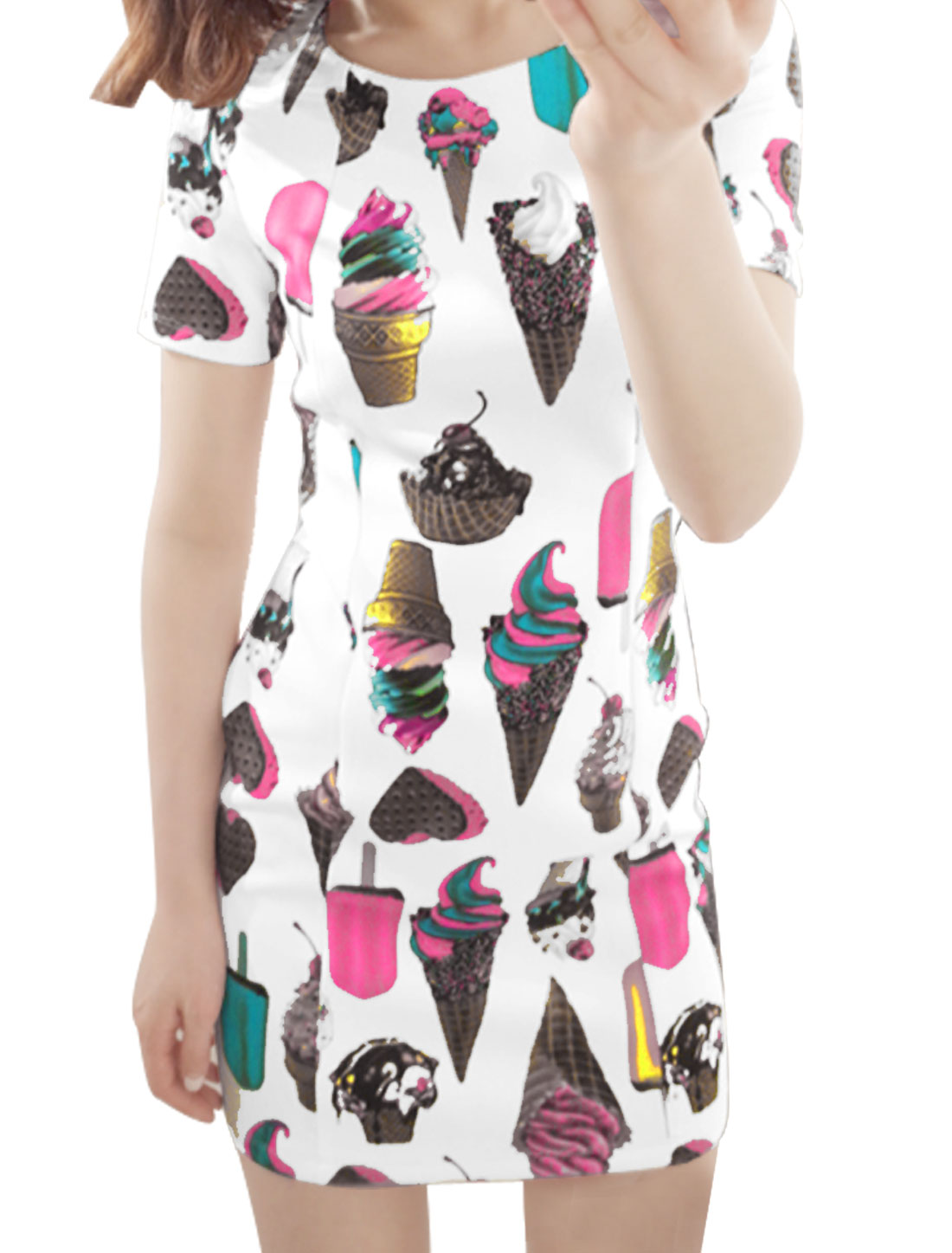 Women Round Neck Short Sleeve Zip Back Ice Cream Prints Dress White XS