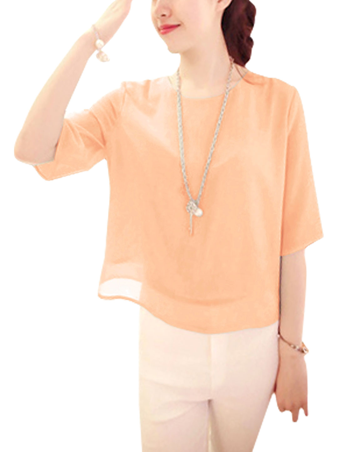 Round Neck Keyhole Back Elbow Sleeve Blouse for Lady Light Salmon XS