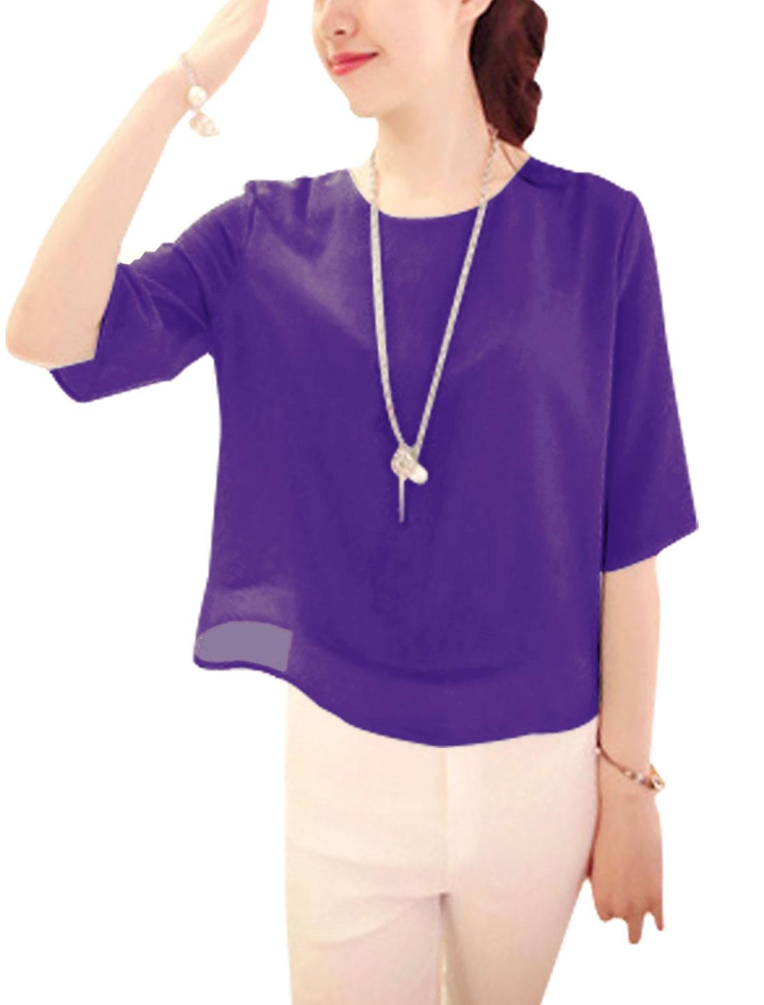 Lady Half Length Sleeve Button Detail Chiffon Blouse Purple XS