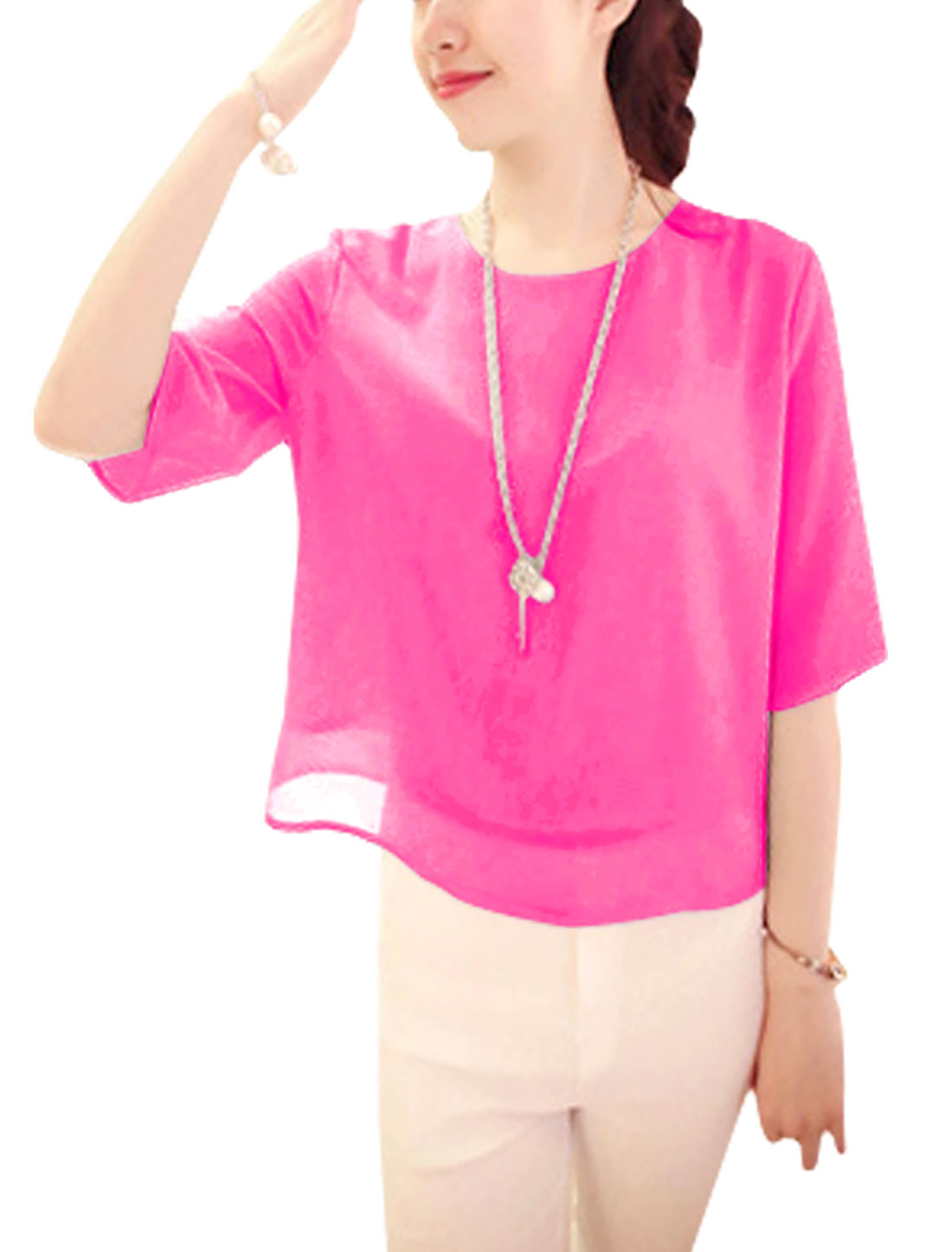Ladies Elbow Sleeve Chic Chiffon Top Blouse Fuchsia XS