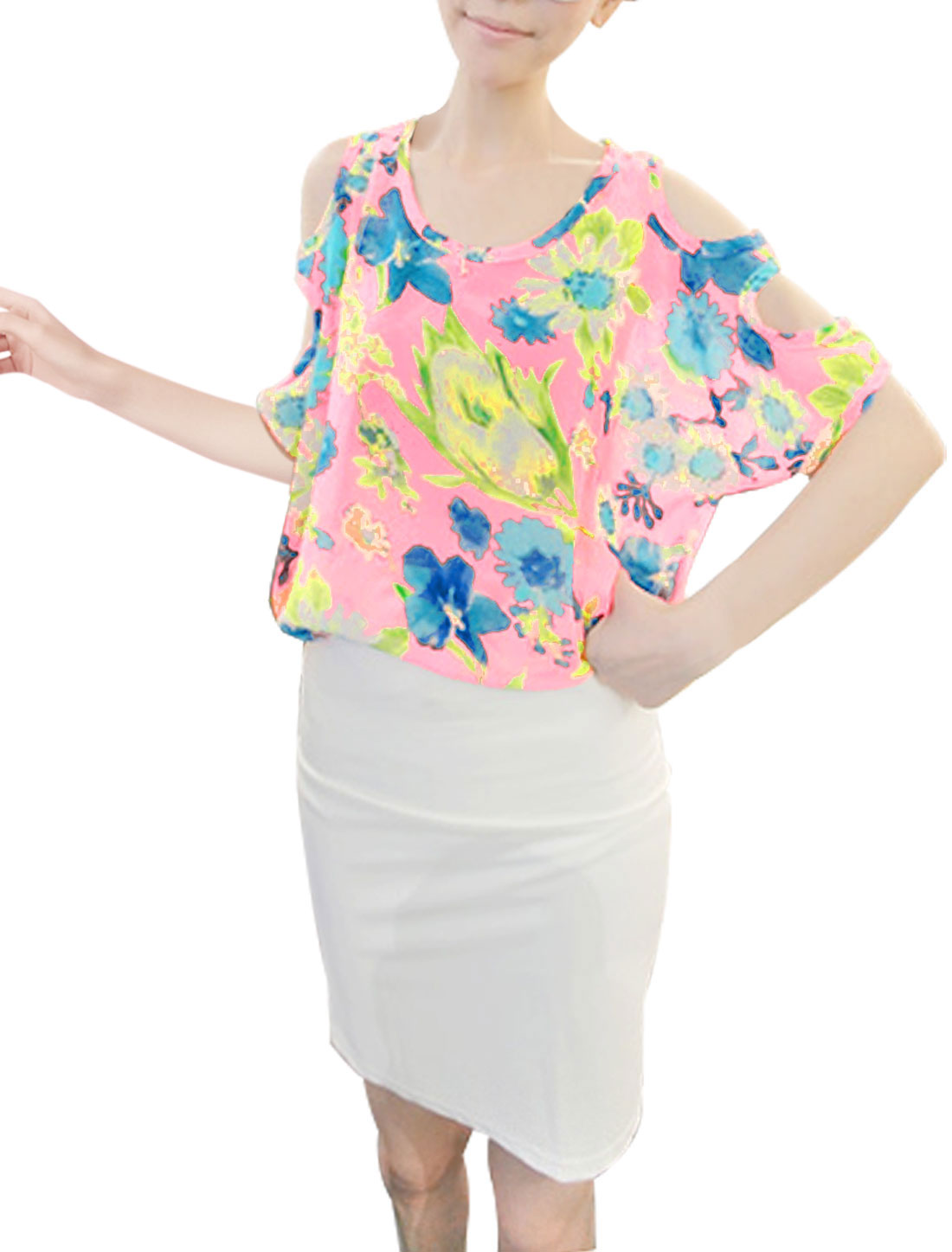 Floral Prints Batwing Sleeve Chic Chiffon Pink Blouse for Lady XS