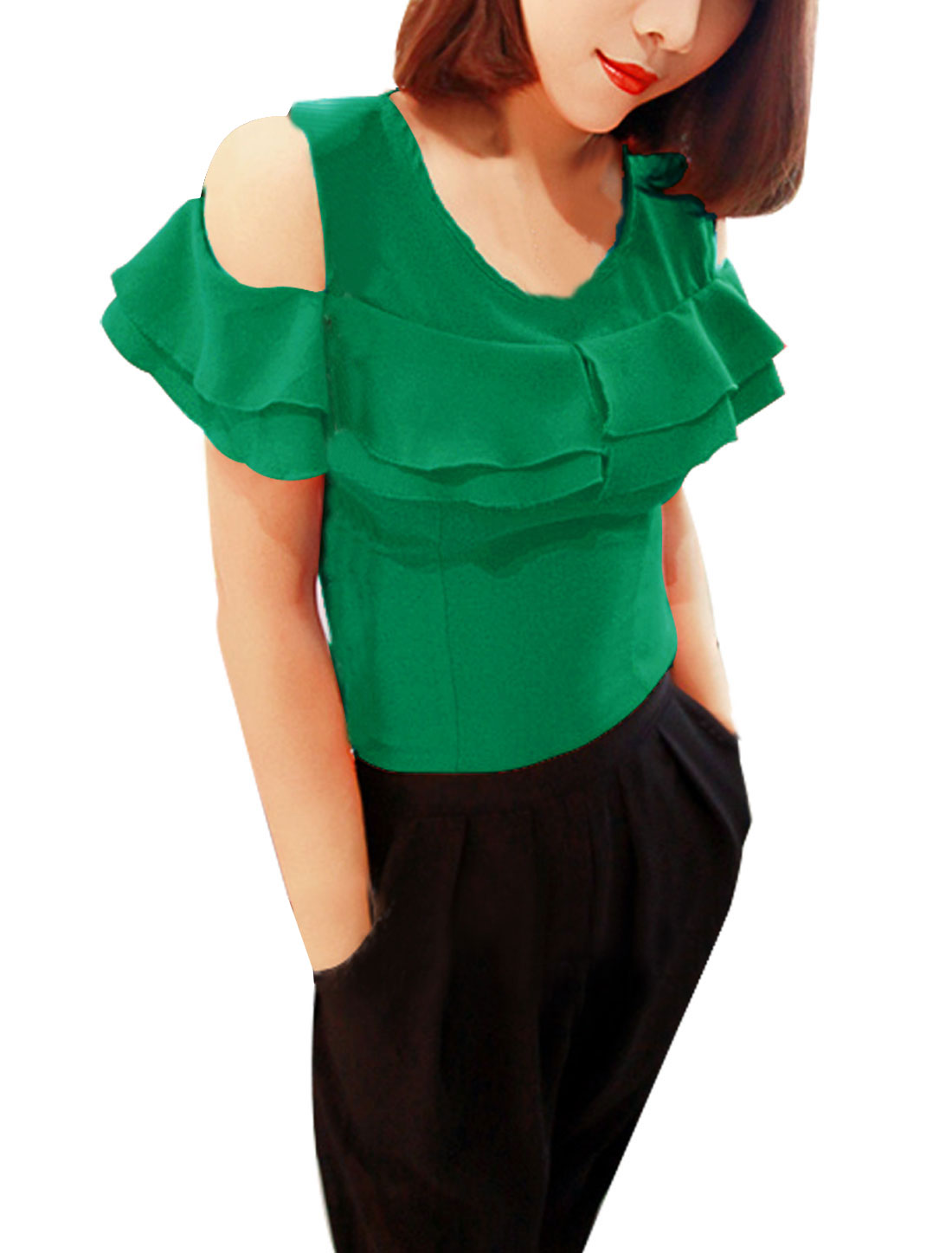 Lady Hidden Zipper Cape Detail Pullover Chic Top Blouse Green M