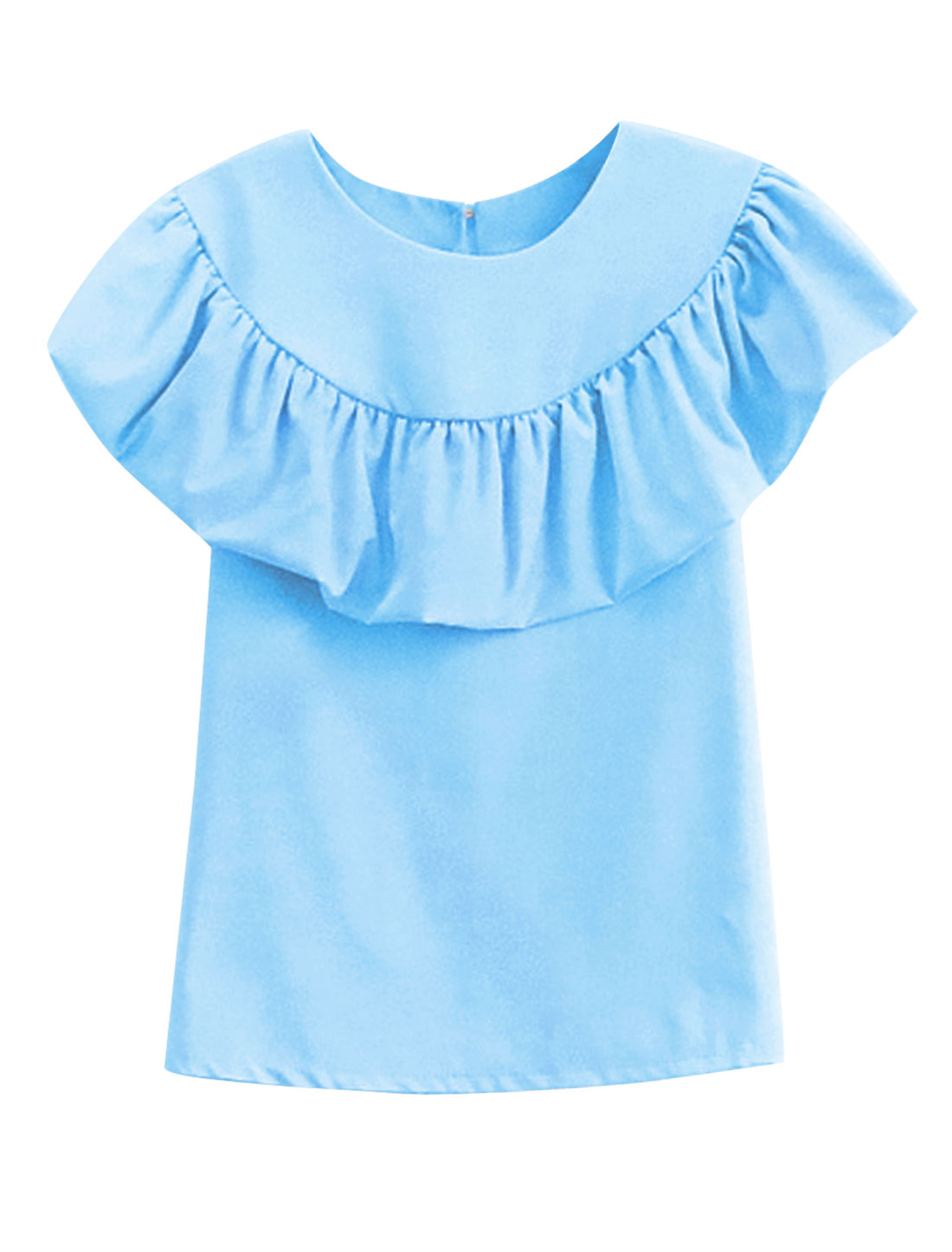 Lady Summer Sleeveless Flouncing Style One Button Back Top Sky Blue XS