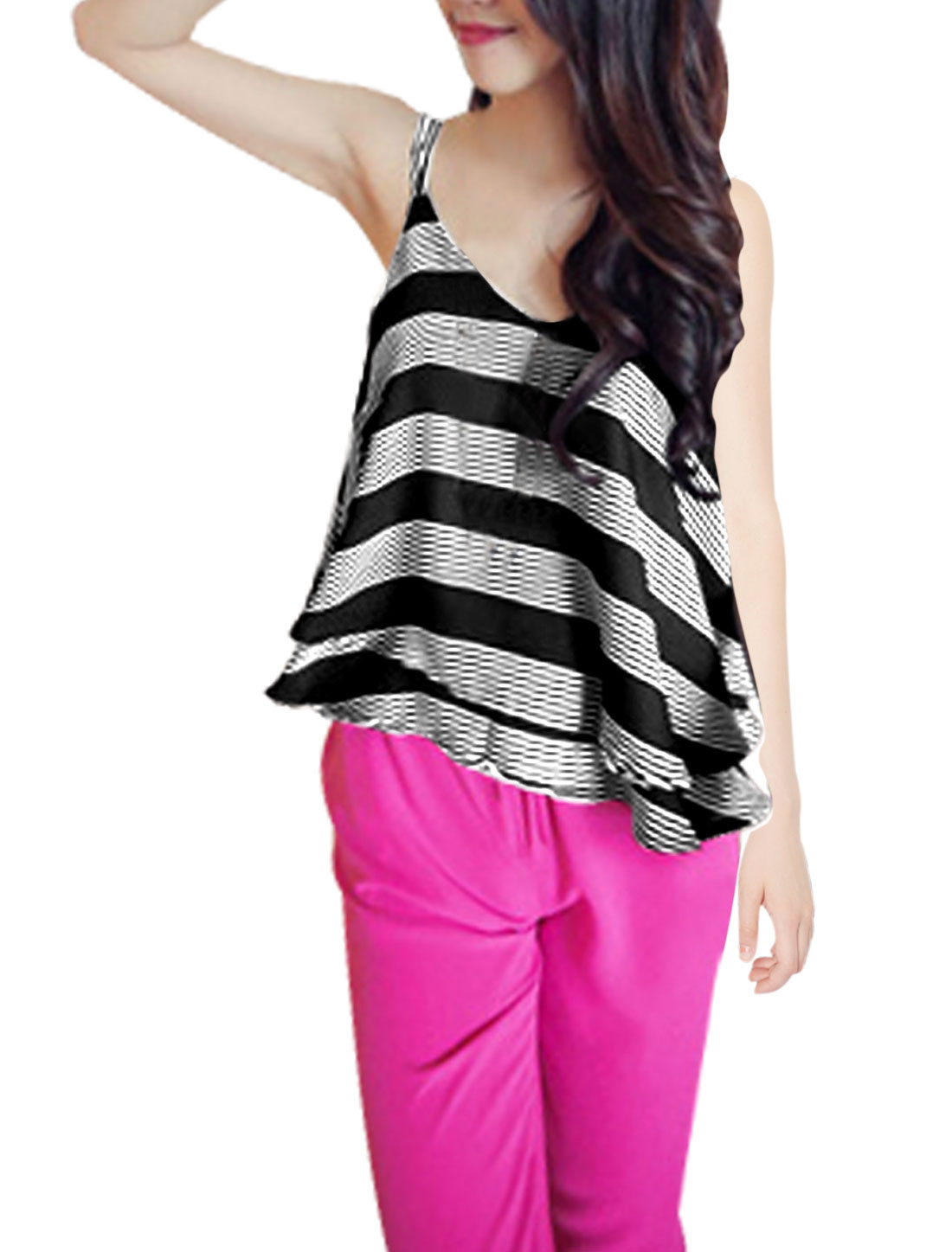 Lady Spaghetti Strap Sleeveless Stripes Pattern Tank Top Black XS